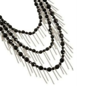 Fringe Necklace & bracelet black CRYSTAL GEMS NWOT